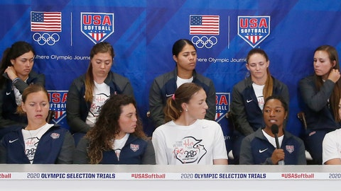 <p>               Outfielder Michelle Moultrie, center with microphone, answers a question during a news conference to announce the USA Softball 2020 Women's Olympic Team, Tuesday, Oct. 8, 2019, in Oklahoma City. (AP Photo/Sue Ogrocki)             </p>