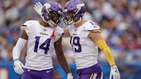 <p>               Minnesota Vikings wide receiver Adam Thielen (19) celebrates with wide receiver Stefon Diggs (14) after catching a touchdown pass against the New York Giants during the third quarter of an NFL football game, Sunday, Oct. 6, 2019, in East Rutherford, N.J. (AP Photo/Adam Hunger)             </p>