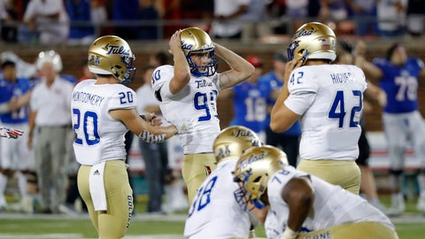 <p>               Tulsa kicker Zack Long (90) reacts after missing a field goal in the third overtime of the team's NCAA college football game against SMU, Saturday, Oct. 5, 2019, in Dallas. SMU won 43-37. (AP Photo/Roger Steinman)             </p>