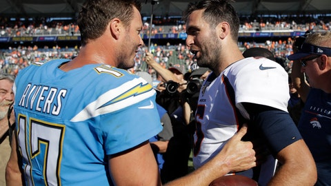 <p>               Los Angeles Chargers quarterback Philip Rivers greets Denver Broncos quarterback Joe Flacco after an NFL football game Sunday, Oct. 6, 2019, in Carson, Calif. (AP Photo/Marcio Jose Sanchez)             </p>
