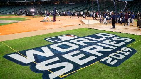 <p>               Houston Astros take batting practice for baseball's World Series Monday, Oct. 21, 2019, in Houston. The Houston Astros face the Washington Nationals in Game 1 on Tuesday. (AP Photo/Matt Slocum)             </p>