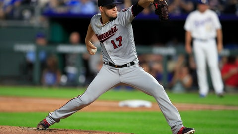 <p>               Minnesota Twins starting pitcher Jose Berrios delivers to a Kansas City Royals batter during the first inning of a baseball game at Kauffman Stadium in Kansas City, Mo., Friday, Sept. 27, 2019. (AP Photo/Orlin Wagner)             </p>