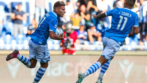 <p>               Lazio's Ciro Immobile celebrates after scoring during the Serie A soccer match between Lazio and Atalanta at the Rome Olympic stadium, Saturday, Oct. 19, 2019. (Angelo Carconi/ANSA via AP)             </p>