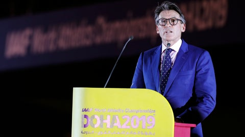 <p>               IAAF President Sebastian Coe speaks during the opening ceremony for the World Athletics Championships on the Corniche in Doha, Qatar, Friday, Sept. 27, 2019. (AP Photo/Hassan Ammar)             </p>