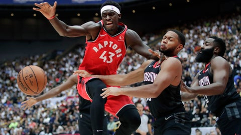 <p>               Toronto Raptors' Pascal Siakam, left, fights for a loose ball with Houston Rockets' Eric Gordon during the first half of an NBA preseason basketball game Thursday, Oct. 10, 2019, in Saitama, near Tokyo. (AP Photo/Jae C. Hong)             </p>