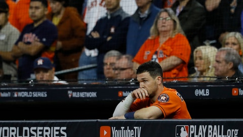<p>               Houston Astros' Alex Bregman watches during the eighth inning of Game 7 of the baseball World Series against the Washington Nationals Wednesday, Oct. 30, 2019, in Houston. (AP Photo/Matt Slocum)             </p>