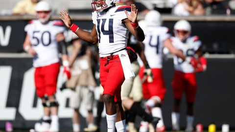 <p>               Arizona quarterback Khalil Tate, front, reacts after throwing for a touchdown against Colorado in the first half of an NCAA college football game Saturday, Oct. 5, 2019, in Boulder, Colo. (AP Photo/David Zalubowski)             </p>