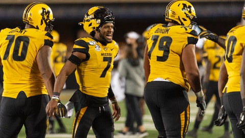 <p>               Missouri quarterback Kelly Bryant (7) celebrates with teammates after a touchdown during the third quarter of an NCAA college football game against Mississippi, Saturday, Oct. 12, 2019, in Columbia, Mo. (AP Photo/L.G. Patterson)             </p>
