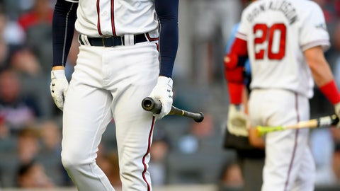 <p>               Atlanta Braves' Freddie Freeman strikes out in the fourth inning of Game 5 of their National League Division Series baseball game against the St. Louis Cardinals, Wednesday, Oct. 9, 2019, in Atlanta. (AP Photo/John Amis)             </p>