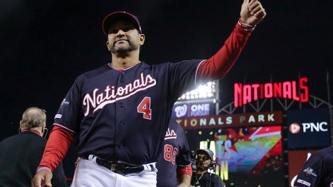 <p>               Washington Nationals manager Dave Martinez gives a thumbs up after Game 3 of the baseball National League Championship Series against the St. Louis Cardinals Monday, Oct. 14, 2019, in Washington. The Nationals won 8-1 to take a 3-0 lead in the series.(AP Photo/Jeff Roberson)             </p>