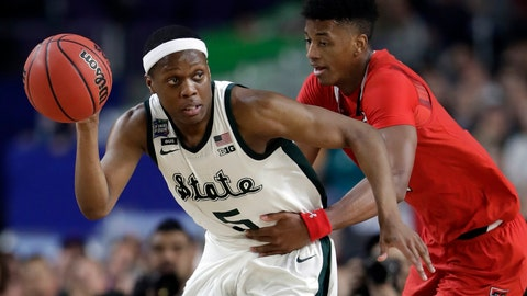<p>               FILE - In this April 6, 2019, file photo, Michigan State's Cassius Winston (5) drives against Texas Tech's Jarrett Culver during the second half in the semifinals of the Final Four NCAA college basketball tournament in Minneapolis. Michigan State senior guard Cassius Winston, Marquette guard Markus Howard, Louisville junior forward Jordan Nwora, Seton Hall senior guard Myles Powell and Memphis freshman James Wiseman headline The (AP Photo/Jeff Roberson, File)             </p>