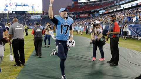 <p>               Tennessee Titans quarterback Ryan Tannehill (17) leaves the field after an NFL football game against the Los Angeles Chargers Sunday, Oct. 20, 2019, in Nashville, Tenn. The Titans won 23-20. (AP Photo/James Kenney)             </p>