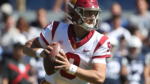 <p>               FILE - In this Sept. 14, 2019, file photo, quarterback Kedon Slovis looks to pass the ball during the second half against BYU in an NCAA college football game in Provo, Utah. Slovis will return from injury to start for Southern California at No. 9 Notre Dame on Saturday night. USC coach Clay Helton made the announcement Tuesday night, Oct. 8, after practice. (AP Photo/George Frey, File)             </p>