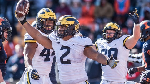 <p>               Michigan's Carlo Kemp celebrates an interception in the second half of an NCAA college football game against Illinois, Saturday, Oct.12, 2019, in Champaign, Ill. (AP Photo/Holly Hart)             </p>
