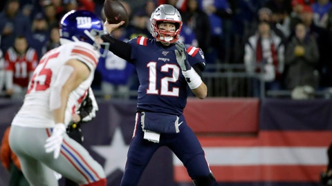 <p>               New England Patriots quarterback Tom Brady throws his first pass of the game against the New York Giants in the first half of an NFL football game, Thursday, Oct. 10, 2019, in Foxborough, Mass. The completion gave Brady the second most total passing yards in NFL history. (AP Photo/Elise Amendola)             </p>