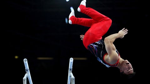 <p>               Russia's Nikita Nagornyy performs on the parallel bars during men's qualifying sessions for the Gymnastics World Championships in Stuttgart, Germany, Sunday, Oct. 6, 2019. (AP Photo/Matthias Schrader)             </p>