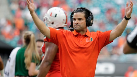 <p>               Miami head coach Manny Diaz reacts during the second half of an NCAA college football game against Virginia Tech, Saturday, Oct. 5, 2019, in Miami Gardens, Fla. (AP Photo/Lynne Sladky)             </p>