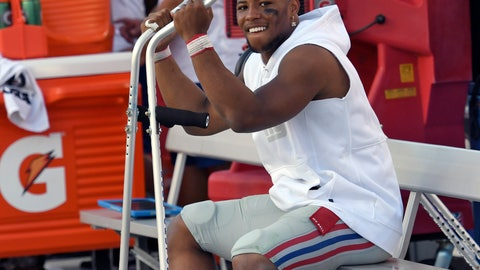 <p>               New York Giants running back Saquon Barkley smiles as he sits on the bench during the second half of an NFL football game against the Tampa Bay Buccaneers Sunday, Sept. 22, 2019, in Tampa, Fla. Barkley was injured in the first half. (AP Photo/Jason Behnken)             </p>