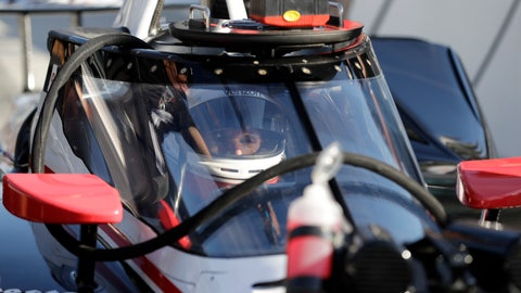 <p>               Will Power, of Australia, sits in his car during the Aeroscreen testing at Indianapolis Motor Speedway, Wednesday, Oct. 2, 2019, in Indianapolis. (AP Photo/Darron Cummings)             </p>