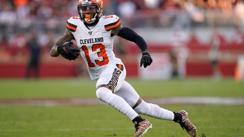 <p>               Cleveland Browns wide receiver Odell Beckham Jr. (13) runs against the San Francisco 49ers during the first half of an NFL football game in Santa Clara, Calif., Monday, Oct. 7, 2019. (AP Photo/Tony Avelar)             </p>
