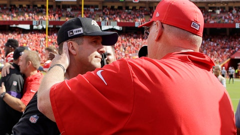 <p>               Kansas City Chiefs head coach Andy Reid, right, and Baltimore Ravens head coach John Harbaugh greet each other after their NFL football game Sunday, Sept. 22, 2019, in Kansas City, Mo. (AP Photo/Charlie Riedel)             </p>
