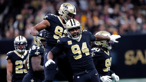 <p>               New Orleans Saints defensive end Cameron Jordan (94) and defensive end Marcus Davenport (92) celebrate a sack in the second half of an NFL football game against the Tampa Bay Buccaneers in New Orleans, Sunday, Oct. 6, 2019. The Saints won 31-24.(AP Photo/Bill Feig)             </p>