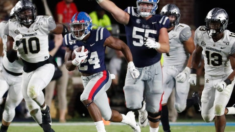<p>               Mississippi offensive lineman Ben Brown (55) gestures as Mississippi running back Snoop Conner (24) heads for an 84-yard touchdown run against Vanderbilt during the second half of an NCAA college football game in Oxford, Miss., Saturday, Oct. 5, 2019. Mississippi won 31-6. (AP Photo/Rogelio V. Solis)             </p>