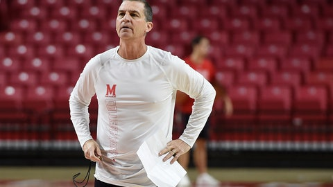 <p>               Maryland NCAA college basketball head coach Mark Turgeon looks on at practice during Media Day, Tuesday, Oct. 15, 2019, in College Park, Md. (AP Photo/Gail Burton)             </p>