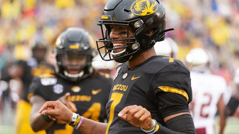 <p>               Missouri quarterback Kelly Bryant celebrates his touchdown with teammates during the first half of an NCAA college football game against Troy Saturday, Oct. 5, 2019, in Columbia, Mo. (AP Photo/L.G. Patterson)             </p>