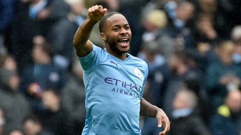 <p>               Manchester City's Raheem Sterling celebrates after scoring his side's first goal during the English Premier League soccer match between Manchester City and Aston Villa at Etihad stadium in Manchester, England, Saturday, Oct. 26, 2019. (AP Photo/Rui Vieira)             </p>