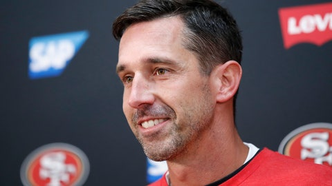 <p>               San Francisco 49ers head coach Kyle Shanahan speaks at a news conference after an NFL football game against the Washington Redskins, Sunday, Oct. 20, 2019, in Landover, Md. (AP Photo/Alex Brandon)             </p>