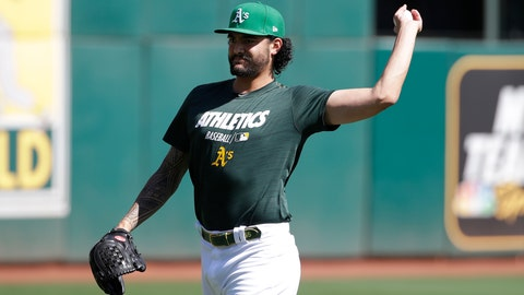 <p>               Oakland Athletics pitcher Sean Manaea throws during baseball practice in Oakland, Calif., Tuesday, Oct. 1, 2019. The Athletics are scheduled to face the Tampa Bay Rays in an American League wild-card game Wednesday, Oct. 2. (AP Photo/Jeff Chiu)             </p>