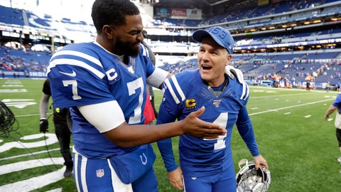<p>               Indianapolis Colts quarterback Jacoby Brissett (7) reacts with kicker Adam Vinatieri following an NFL football game against the Denver Broncos, Sunday, Oct. 27, 2019, in Indianapolis. (AP Photo/Michael Conroy)             </p>