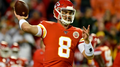 <p>               Kansas City Chiefs quarterback Matt Moore (8) warms up before an NFL football game against the Green Bay Packers in Kansas City, Mo., Sunday, Oct. 27, 2019. (AP Photo/Ed Zurga)             </p>