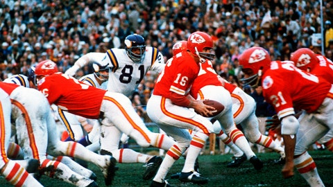 <p>               FILE - In this Jan. 11, 1970, file photo, Kansas City Chiefs quarterback Len Dawson (16) turns around to hand the ball off to running back Mike Garrett (21) during the Super Bowl IV football game in New Orleans. For the second year in a row, a heavily favored NFL team lost to a supposedly weaker AFL opponent in pro football's championship game, when the Vikings fell to the Chiefs. (AP Photo/File)             </p>