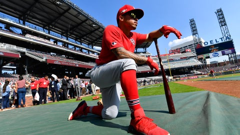 <p>               St. Louis Cardinals second baseman Kolten Wong (16) waits to bat during practice ahead of Game 1 of a best-of-five National League Division Series between the Atlanta Braves and the St. Louis Cardinals, Thursday, Oct. 3, 2019, in Atlanta. (AP Photo/John Amis)             </p>