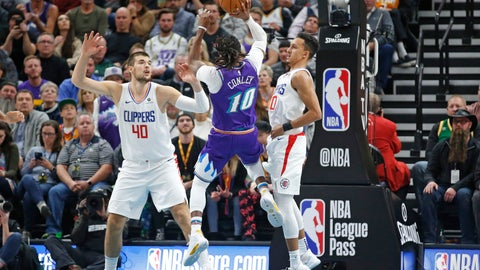 <p>               Utah Jazz guard Mike Conley (10) shoots as Los Angeles Clippers' Ivica Zubac (40) and Landry Shamet (20) defend during the first half of an NBA basketball game Wednesday, Oct. 30, 2019, in Salt Lake City. (AP Photo/Rick Bowmer)             </p>