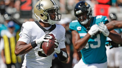 <p>               New Orleans Saints quarterback Teddy Bridgewater, left, looks for a receiver as he is pressured by Jacksonville Jaguars defensive end Calais Campbell during the first half of an NFL football game, Sunday, Oct. 13, 2019, in Jacksonville, Fla. (AP Photo/John Raoux)             </p>