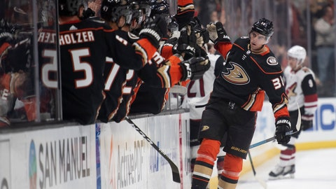 <p>               Anaheim Ducks center Derek Grant is congratulated for his goal during the first period of the team's NHL hockey game against the Arizona Coyotes in Anaheim, Calif., Thursday, Oct. 3, 2019. (AP Photo/Kyusung Gong)             </p>