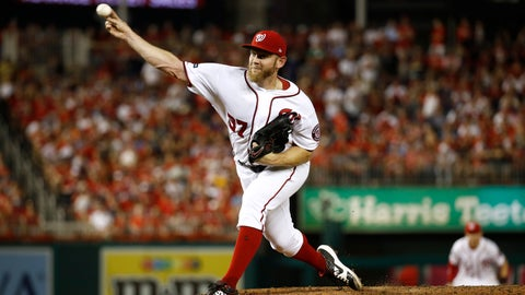 <p>               Washington Nationals relief pitcher Stephen Strasburg throws to the Milwaukee Brewers in the sixth inning of a National League wild card baseball game, Tuesday, Oct. 1, 2019, in Washington. (AP Photo/Patrick Semansky)             </p>