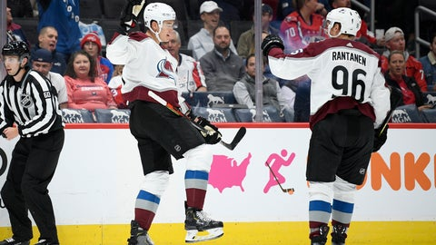 <p>               Colorado Avalanche defenseman Nikita Zadorov, left, of Russia, celebrates his goal with right wing Mikko Rantanen (96) during the first period of an NHL hockey game against the Washington Capitals, Monday, Oct. 14, 2019, in Washington. (AP Photo/Nick Wass)             </p>