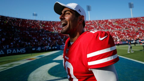 <p>               San Francisco 49ers quarterback Jimmy Garoppolo (10) celebrates after a 20-7 win over the Los Angeles Rams during an NFL football game Sunday, Oct. 13, 2019, in Los Angeles. (AP Photo/John Locher)             </p>