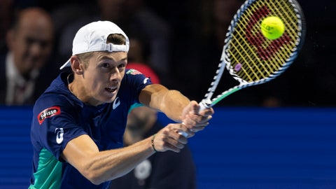 <p>               Australia's Alex De Minaur returns a ball to Switzerland's Roger Federer during their final match at the Swiss Indoors tennis tournament at the St. Jakobshalle in Basel, Switzerland, on Sunday Oct. 27, 2019. (KEYSTONE/Georgios Kefalas)             </p>