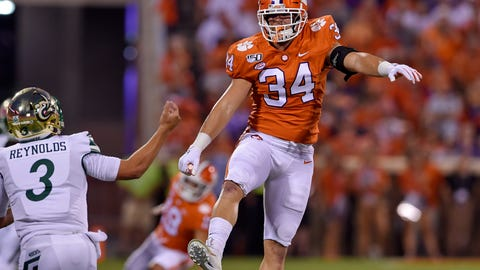 <p>               Clemson's Logan Rudolph (34) blocks the pass attempt by Charlotte's Chris Reynolds during the first half of an NCAA college football game Saturday, Sept. 21, 2019, in Clemson, S.C. (AP Photo/Richard Shiro)             </p>