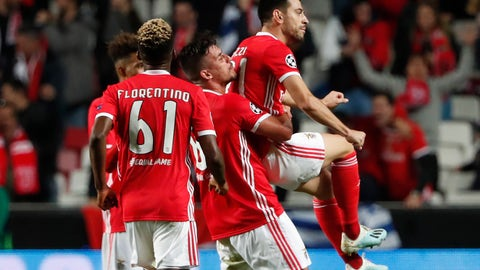 <p>               Benfica's Pizzi, right, celebrates with his teammates his goal against Lyon during the Champions League group G soccer match between Benfica and Olympique Lyonnais at the Luz stadium in Lisbon, Wednesday, Oct. 23, 2019. (AP Photo/Armando Franca)             </p>