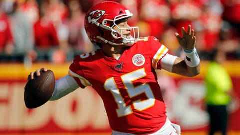 <p>               Kansas City Chiefs quarterback Patrick Mahomes (15) throws a pass during the first half of an NFL football game against the Houston Texans in Kansas City, Mo., Sunday, Oct. 13, 2019. (AP Photo/Colin E. Braley)00             </p>