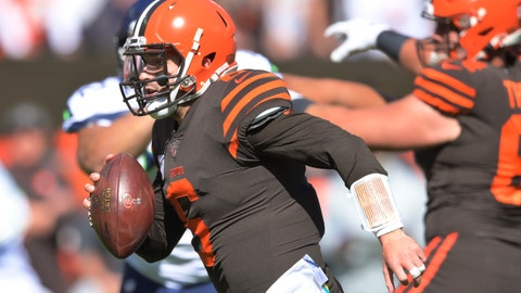<p>               Cleveland Browns quarterback Baker Mayfield rushes for a 10-yard touchdown during the first half of an NFL football game against the Seattle Seahawks, Sunday, Oct. 13, 2019, in Cleveland. (AP Photo/David Richard)             </p>