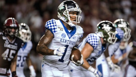 <p>               Kentucky wide receiver Lynn Bowden Jr. (1) runs with the ball against South Carolina during the second half of an NCAA college football game Saturday, Sept. 28, 2019, in Columbia, S.C. South Carolina defeated Kentucky 24-7. (AP Photo/Sean Rayford)             </p>