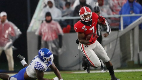 <p>               Georgia running back D'Andre Swift (7) breaks away from a Kentucky defender during the first half of an NCAA college football game Saturday, Oct. 19, 2019, in Athens, Ga. (AP Photo/John Bazemore)             </p>
