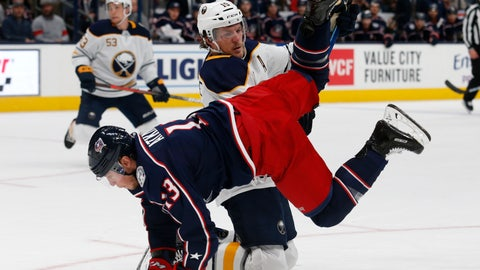 <p>               Buffalo Sabres defenseman Jake McCabe, top, upends Columbus Blue Jackets forward Cam Atkinson during the second period of an NHL hockey game in Columbus, Ohio, Monday, Oct. 7, 2019. (AP Photo/Paul Vernon)             </p>